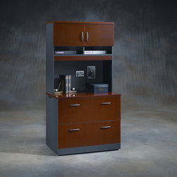 """Sauder - Via Lateral File Cabinet with Hutch - The means justify the end for the rich and dramatic Via collection. Finished with beautiful Classic Cherry surfaces over Soft Black bases, Via offers a sophisticated professional ambience for the home or small business. Work surfaces clad in hard gloss Ever Sheen provide serious wear ability and beautiful clarity. Features: -Lateral file cabinet. -Via collection. -Classic cherry finish. -Drawers with full extension slides hold letter, legal or European size hanging files. -Patented interlocking safety mechanism allows only one drawer open at a time. -Cord management system with desktop grommet hole. -Adjustable levelers. -Assembly required. -Manufacturer provides 5 year warranty. -Overall Dimensions: 29.75"""" H x 34.13"""" W x 23.5"""" D."""
