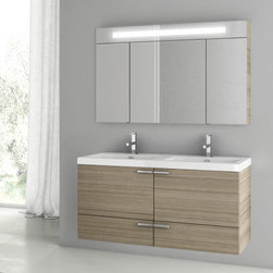 ACF - 47 Inch Larch Canapa Bathroom Vanity Set - A sensible piece for a designer or contemporary bath, this wall mounted bath vanity is the perfect option. Imported from italy with high quality engineered wood and mirrored glass and ceramic and available in larch canapa, this bath vanity is part of the ACF New Space collection. Set Includes:. Vanity Cabinet (2 Doors,1 Drawer). High-end fitted ceramic sink. Wall mounted medicine cabinet. Vanity Set Features . Vanity cabinet made of engineered wood. Cabinet features waterproof panels. Vanity cabinet in larch canapa finish. Cabinet features 2 doors, 1 soft-closing drawer. Faucet not included. Perfect for modern bathrooms. Made and designed in Italy. Includes manufacturer 5 year warranty.