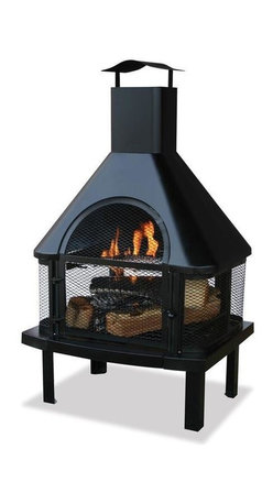 UniFlame Wood Burning Firehouse w/ Chimney - Giving a 360 degree view of the fire, this elegant firehouse will always catch your attention.