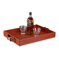 Kathy Kuo Home - Vermillion Rustic Lodge Leather Nickel Rectangular Serving Tray - Service with style is easy with this rich leather and polished nickel serving tray. The generous rectangular surface area holds all of your favorite refreshments from breafast in bed to hot cocoa by the fireplace.