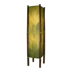 """Lamps Plus - Asian Eangee Fortune Green Cocoa Leaves Tower Floor Lamp - The striking shade of this floor lamp is made of cocoa leaves that have been put through a labor-intensive process of fossilization. The leaves are then stained in organic dyes and sealed. The wrought iron frame is powder coated and the legs are made of real bamboo which is hand-stained and bound with twine. A distinctive addition to any decor. Powder coat finish. Wrought iron frame. Fossilized cocoa leaf shade. Takes two 40 watt bulbs (not included). On-off foot switch. 11"""" wide. 48"""" high.  Powder coat finish.   Wrought iron frame.   Fossilized cocoa leaf shade.   Takes two 40 watt bulbs (not included).   On-off foot switch.   11"""" wide.   48"""" high."""