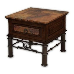 Artisan Home Furniture - 1 Drawer Rustic End Table w Iron Base - 1 Drawer. Real copper tops, hand hammered and fired using a hand applied old world finishing technique. Texturized iron base, hand forged and hand painted. Distressed pine finished with a multi step lacquer process. Drawers have full extension glides. Nail head trim around top and on drawer front frame. 28 in. W x 28 in. D x 25 in. H