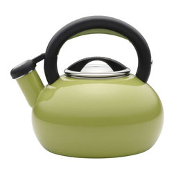 Circulon - Circulon Sunrise 2 Quart Teakettle, Green - Circulon has brought more than 25 years of style and functionality to the home, and for the days first piping hot cup of coffee or tea, the Circulon 2-Quart Sunrise Teakettle delivers both and then some. The distinctive shape of this teakettle looks fantastic on the stovetop or around the kitchen, and it boils up to 8 cups of water for delicious hot cocoa with the entire family or a large pot of English breakfast tea with friends. A whistle pleasantly signals when the water is at the boil, and the handles squeeze-and-pour spout is easy to operate. This teakettles handsome blend of style and utility also complements other great Circulon cookware to add even more design to your kitchen.