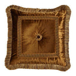"""Dian Austin Couture Home - Fringed Velvet Pillow with Greek Key Border & Rosette Center 20""""Sq. - BRONZE - Dian Austin Couture HomeFringed Velvet Pillow with Greek Key Border & Rosette Center 20""""Sq.Designer About Dian Austin Couture Home:Taking inspiration from fashion's most famous houses of haute couture the Dian Austin Couture Home collection features luxurious bed linens and window treatments with a high level of attention to detail. Acclaimed home designer Dian Austin introduced the collection in 2006 and seeks out extraordinary textiles from around the world crafting each piece with local California artisans."""