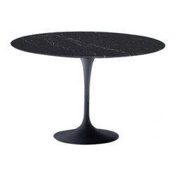 "Fine Mod Imports - 48"" Round Black Marble Top Table - Marble top. Base is a heavy molded cast aluminum, while the shell is in reinforced molded fiberglass."