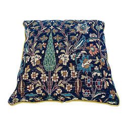 """Consigned Antique Persian Rug Floor Pillow - Antique wool Persian rug pillow newly made with fresh insert of 25% down feather and 75% polly, linen insert cover and black velvet backing with braided cord. Maker's mark reads """"Saliha by Design."""" Circa 1910 (rug).  Dry Clean Only."""