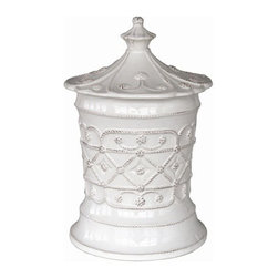 "Juliska - Juliska Jardins du Monde Villandry Medium Canister Whitewash - Juliska Jardins du Monde Villandry Md. Canister Whitewash. Add sculptural interest to mantle, counter, or nook with this eye-catching canister. Crowned with an elegant lid and lavishly clad in elegant garden motif, we adore three in a row of descending sizes to provide handsome housing for sugar, flour, and loose tea leaves. Dimensions: 10.5"" H x 5.5"" W Capacity: 2 Qt"