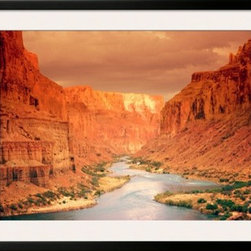 Artcom - Grand Canyon at Sunset Artwork - Grand Canyon at Sunset is a Framed Art Print set with a SOHO Black wood frame and a Polar White mat.