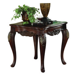 Homelegance - Homelegance Ella Martin Rectangular End Table with Glass Insert - When adding the personal touches to your living space that reflect the warmth and elegance of your home, the Ella Martin collection is the perfect traditional table offering.