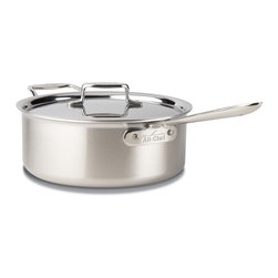 All-Clad - All-Clad d5 Brushed Stainless Steel 6 qt. Deep Saute Pan w/Lid (BD55206) - This large All-Clad d5 Brushed Stainless 6 quart deep saute pan is great for making pot roast and other dishes that require searing or sauteing foods before adding more ingredients for stewing. The pan is shallow enough to sear meat, but also deep enough to slow cook. This All-Clad 6 quart deep saute pan cooks evenly without hot spots thanks to All-Clad's d5 5-layer construction of aluminum and steel layers. It also has a wonderful brushed stainless finish that gives it an eye-catching appearance. This pan is made in the USA!