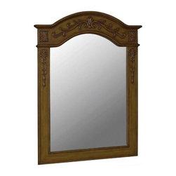 Belle Foret - Belle Foret 40 in. x 30 in. Framed Carved Portrait Mirror, Medium Oak (80032) - Belle Foret 80032 40 in. x 30 in. Framed Carved Portrait Mirror, Medium Oak