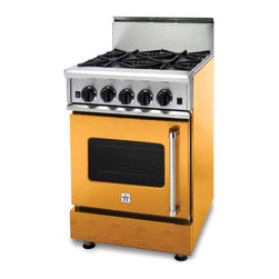 "BlueStar 24"" RNB Range with 4 Top Burners in Broom Yellow - Nova, Ultranova, and Simmer Burners that allows a gentle 130 F option to a burner that can deliver 22,000 BTUs."