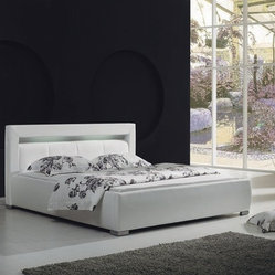 White Leather Platform Bed with Built-In Lighting