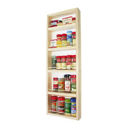 None - Solid Pine Wood 30-inch On-the-wall Spice Rack - Capable of being mounted on a wall,side cabinet or door,this functional spice rack works wonders when storing your favorite seasonings. Constructed from solid pine wood,this spice rack comes with a veneer backer.