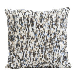 Stripe Pillow, Blue + Tan - Classic, geometric patterns get an unexpected makeover. The stripe pattern is re-imagined, evoking the gentle flow of shallow water, as dappled sunlight and reflections play upon the surface. Subdued color palettes with an organic twist modernize this traditional design for a fresh interior space.