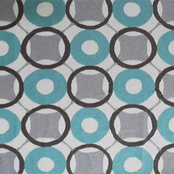 The Rug Market - ROUNDERS BLUE ,Area Rug ,size   7X10 - This contemporary rug is made of UV Poly and will surely add color to any space
