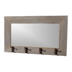 MyBarnwoodFrames - Rustic Barnwood Mirror with Iron Hooks, 26x30 - Rustic  Mirror  and  Coat  Rack  All  in  One          This  rustic  reclaimed  wood  mirror  is  handcrafted  from  natural  barnwood,  weathered  and  aged  personally  by  Mother  Nature.  Eco-friendly  and  functional  at  the  same  time,  you'll  bring  light  and  space  into  a  room  and  even  have  a  place  to  hang  your  hat  at  the  same  time.  Frame  face  is  a  flat,  reclaimed  barn  wood  frame  with  iron  hooks  attached.  Perfect  for  southwestern,  western,  cabin,  or  even  coastal  decor,  this  mirror  would  look  great  in  even  more  contemporary  settings.                  Dimensions:  26x30  finished              Natural  reclaimed  wood  (barnwood)              Includes  3  or  more  iron  hanging  hooks              Handcrafted  in  the  USA              Natural  Reclaimed  Barnwood              Includes  D-ring  hanging  hardware              Allow  2  weeks  for  shipping