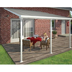 Poly-Tex, Inc. - Feria Patio Cover Kit 13 x 20 - Protect yourself and your patio from the elements with the new Feria patio cover. Clear, UV protected, polycarbonate roof panels protect you, your family and patio furniture from harsh UV rays, while still allowing sun to shine through. White powder coated aluminum frame is neutral enough to match any home color, and provides protection from rust and discoloration. Feria framing also easily adjusts to fit your patio's unique size.