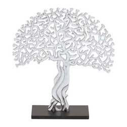 BZBZ22043 - Intricately Designed Fashion Aluminum Tree Decor - Intricately Designed Fashion Aluminum Tree Decor. This intricately designed fashion aluminum tree decor is dazzling in its beauty and opulence. Made from high quality aluminum, this tree decor will sparkle and bring a touch of class to your interiors, be it your home or your office. The dimensions of the aluminum tree decor are 10x5x19. Some assembly may be required.