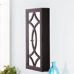 Southern Enterprises - Cora Wall-Mount Jewelry Armoire Mirror - Features a variety of storage options. Black finish. Constructed of MDF, hardwoods, 3mm mirror, and black felt lining. No assembly required; ready to hang. 17 in. W x 5 in. D x 32.25 in. H. 2 rows for hanging items, 7 hooks each (15.5 in. W x 11 in. H). 2 rows or earring storage, 8 notches each (8.75 in. W x 19 in. H). 4 rows of ring storage (8.75 in. W). 1 shelf with 3 bins for assorted pieces (3.75 in. W x 3.75 in. W x 1.75 in. H each) Add storage and style with this black, wall mount jewelry mirror. It provides an assortment of storage options and is the perfect solution to keep you organized. The unit offers 14 hanging hooks, 16 earring notches, four cushioned ring holders, and a shelf with three bins for assorted pieces. The inside storage features black felt lining to help prevent your most prized possessions from scuffing or scratching. This well-designed wall mount jewelry mirror will be a beautiful addition to any bedroom, walk-in closet, bathroom or entryway. This jewelry mirror blends with any decor and works especially well in transitional to contemporary homes.