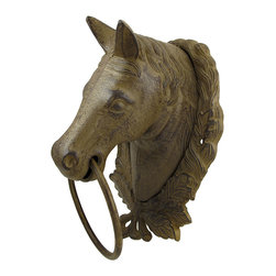 Zeckos - Large Cast Iron Horse Bust Towel Ring Wall Decor - This cast iron towel ring features a horse bust, encircled by a wreath, and is a lovely addition to your home. It measures 13 1/2 inches tall, 9 inches wide, 7 inches deep, and has an antique rust finish. This piece is a decorative, yet functional, accent and makes a great gift for equestrian friends. NOTE: Mounting hardware not included.