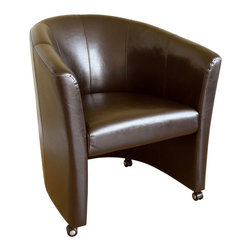Baxton Studio - Baxton Studio Club Chair with Wheels - Leather accent / club chair completed by gracefully rolled arms and back has a classic design with a modern feel that will complement any seating area.  Durable polyurethane coated leather upholstery for longer lasting use and stain resists for easy clean up.  Chair constructed with hardwood frame with high density foam padding and a rubber webbing interior support system for added comfort.  Stylish design with panel stitching.  Features caster legs that would allow easy access for you to go around.  The perfect combination of quality craftsmanship with simple and sophisticated designs, will instantly enhance your room decor.