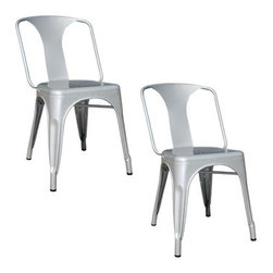 New Buffalo Corp. - AmeriHome 2-Piece Metal Dining Chair Set, Silver - This AmeriHome Metal Dining Chair Set in Silver is durable enough for use in the shop, and stylish enough to use in the kitchen, game room, bar, basement, dorm room, or loft. The Dining Chairs have a modern, industrial style, with clean lines and a simple elegance, which will look great in the dining room or on the patio. The chairs arrive fully assembled, so they are ready to use as soon as they arrive. Lightweight and sturdy, each chair weighs only 12 lbs., but is strong enough to hold up to 530 lbs.