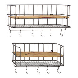 Stylish Metal Wood Wall Shelf Hook, Set of 2 - Description: