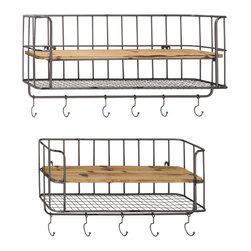 Stylish Metal Wood Wall Shelf Hook, Set of 2 - Description: