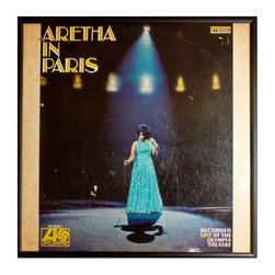 """Glittered Aretha Franklin Aretha in Paris Album - Glittered record album. Album is framed in a black 12x12"""" square frame with front and back cover and clips holding the record in place on the back. Album covers are original vintage covers."""