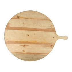 Large Wooden Serving Tray - Large, round natural wooden centerpiece or serving tray.