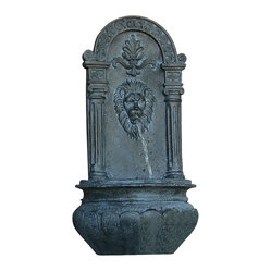 Serenity Health & Home Decor - Leo Outdoor Solar On-Demand Wall Fountain, Lead - Make this noble wall fountain the pride of your favorite outdoor space. Crafted of resin in a handsome pewter tone for an old-world look, its burbling spout lends a sense of leonine tranquility.