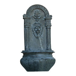 Sunnydaze Decor - Leo Outdoor Solar Wall Fountain, Lead - Make this noble wall fountain the pride of your favorite outdoor space. Crafted of resin in a handsome pewter tone for an old-world look, its burbling spout lends a sense of leonine tranquility.