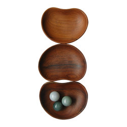 Bahari - Teak Wood Condiment Dish, Bean Shape - Teak Wood Condiment Dish, Bean Shape.  3 pcs/set.  Clean with warm cloth and dry immediately