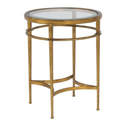 EuroLux Home - New Side Table Consigned Antiqued Glass Beveled Round - Product Details