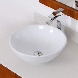 Elite - Elite White Ceramic Round Bathroom Sink - This Elite bathroom sink is constructed of grade A ceramic in a stylish,modern round design. This vessel-style sink comes with a solid brass umbrella basket pop-up drain with overflow.
