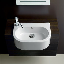 None - Bissonnet 'Form' Semi-Recessed Bathroom Ceramic Sink - This striking model semi-recessed ceramic sink features an overflow and two embedded prepared-to-drill-faucet holes to expand faucet position options. This modern sink accepts one-hole left or right-hand deck-mount faucets.