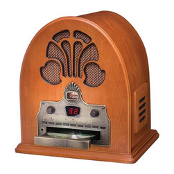 Crosley - Crosley Cathedral Radio CD Multicolor - CR32CD - Shop for Radios from Hayneedle.com! Imagine owning a stately arched cathedral radio like the one you used to know but having the ability to choose the evening programming - stop dreaming and say hello to the Crosley Cathedral Radio CD. A radio and CD player with style that transcends time this player combines modern convenience with traditional format like no other. With programmable 20-track memory function select and LED display the new and improved Cathedral AM/FM radio and CD player has everything you need to enjoy audio time at home or in the office including an external FM antenna and dynamic full-range speakers that fill rooms with rich sounds of music talk radio and more. The radio/CD player is housed in a paprika-colored gothic cabinet that will remind you of memories past when radio was a primetime form of entertainment.About CrosleyIn 1920 Powel Crosley founded the company that pioneered radio broadcasting and mass market manufacturing around the world. Dismayed with the $130 price tag for the radio receiver he promised to buy for his son's birthday Crosley decided to make his own. Upon successfully building a working set for only $35 Crosley was quick to spot the mass market potential. It was a simple idea--design a fully functioning radio meticulously craft each unit with obsessive detail and precise accuracy and of course add a measure of consideration for the wallet.Today the Crosley name lives on with superbly detailed replicas that truly transcend time. Reintroductions of original vintage radios and turntables feature the newest technologies graced by unforgettable Crosley stylings. The Crosley Collection includes AM/FM radios portable suitcase-style record players and turntables record changers multi-functional audio cassette/compact disc players jukeboxes music boxes telephones and more. Rich lines retro designs and authentic crafting have made Crosley today's premier vintage electronics m