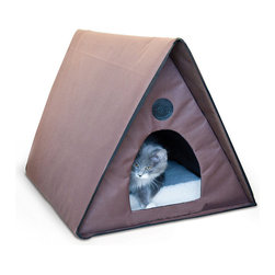 "Frontgate - Outdoor Non-Heated Kitty A-Frame House - Waterproof for use outdoors. Made from 600-denier nylon with a vinyl backing. Unzips and lays flat for shipping and storage. Easy assembly, no tools required. Heated unit has 66"" cord length. Outdoor and wandering cats can rest warm, dry, secure, and away from predators in the Outdoor Kitty A-Frame House. This cozy cat house is made with 600-denier nylon with a vinyl backing that prevents water from penetrating the exterior. Available in unheated and heated; heated requires access to electricity and keeps your pet warm and cozy even in outdoor winter temperatures.. . . . . One year manufacturer's warranty."