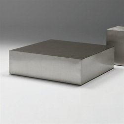 Enix - The stainless steel cube coffee table represents an iconic use of steel in furniture design.