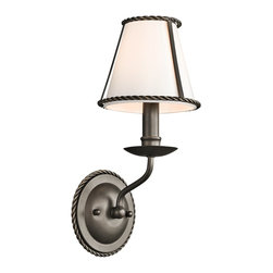 Kichler Lighting - Kichler Lighting Donington Traditional Wall Sconce X-ZO34334 - Inspired by the historic estates of presidents past, this 1 light wall sconce from the Donington collection is a unique interpretation of traditional Williamsburg style. Simple iron rope detailing and a rich, Olde Bronze&trade: finish accentuates the off-white fabric shades, creating a classic look that works with a variety of decorating schemes.