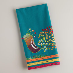 Teal Peacock Tea Towel - I'm a sucker for teal. And peacock. Clearly I need these napkins.