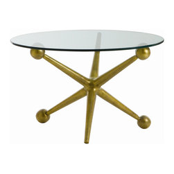 """Arteriors - Arteriors Home - Jack Cocktail Table - 2419 - This playful oversized aluminum jack base cocktail table Features: an antique brass finish and a glass top. Features: Jack Collection Coffee Table Antique brass finish Some Assembly Required. Dimensions: H 20.5""""x 31"""" Dia"""