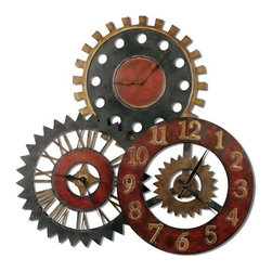Uttermost - Uttermost 06762  Rusty Movements Wall Clock - This unusual collage of clocks is made from hand forged metal and features a finish of vibrant rustic red, antiqued gold and aged black.