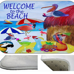 Beach Party Plush Bath Mat, 20X15 - Bath mats from my original art and designs. Super soft plush fabric with a non skid backing. Eco friendly water base dyes that will not fade or alter the texture of the fabric. Washable 100 % polyester and mold resistant. Great for the bath room or anywhere in the home. At 1/2 inch thick our mats are softer and more plush than the typical comfort mats.Your toes will love you.