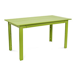 Loll Designs - Fresh Air Table 58, Leaf Green - Fresh air is as important as healthy food and good friends and when all three coalesce there is something special that occurs. We named our Fresh Air Collection after just that. The clean lines and unique joinery make this a perfect table and bench for modern outdoor spaces. The bench has angled seat slats for a comfortable sit that won't allow water to pool on top. Made with half inch thick recycled plastic, both the table and bench are easy to move around and heavy enough to stay put in a gusty wind. The Fresh Air table and bench are sized perfectly for four even when two is really all you need.