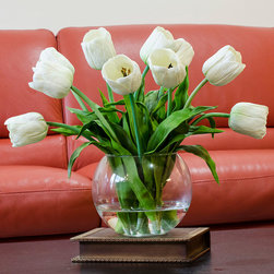 Real Touch White Tulip Faux Arrangements & Centerpieces for Home Decor - FREE SHIPPING!