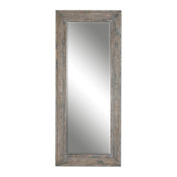 """Uttermost - Uttermost 13830 Missoula Distressed Aged Wood Leaner Mirror - 82"""" Length - Heavily Distressed Blue Green w/ Aged Wood Undertones and Rustic Ivory Accents"""