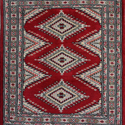 """ALRUG - Handmade Red/Burgundy Oriental Jaldar Rug 2' 2"""" x 3' 1"""" (ft) - This Pakistani Jaldar design rug is hand-knotted with Wool on Cotton."""
