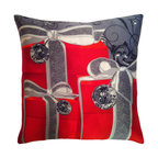 Frontgate - Elegant Gifts Christmas Throw Pillow Christmas Decor - Silk satin cover. Genuine Swarovski® crystal trim. Printed on one side; solid color back. Premium down fill encased in two layers of cotton. Hidden zipper. A stack of gifts on your favorite chair mirrors exactly what you'd find under the tree this season with our Elegant Gifts Throw Pillow. The luxurious silk satin cover gleams with tiny Swarovski crystals. Soft down fill is a pleasure to rest against.. Genuine Swarovski crystal trim. . . . Dry clean. Assembled in the USA.